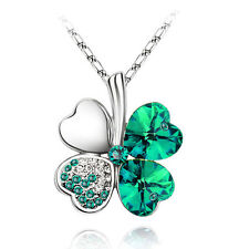 Crystal Dark Green & Silver 4 Leaves Clover Crystal Pendant Necklace N393