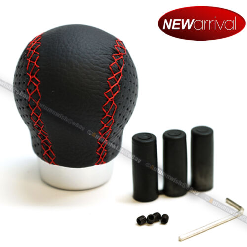For Liberty JDM Style Black Leather Red Stitch Round Aluminum Shift Knob