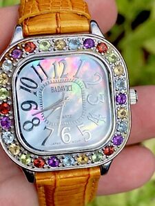Vintage-BADAVICI-Mother-Of-A-Pearl-Ladies-Watch-Quartz-Movement-Leather-Band