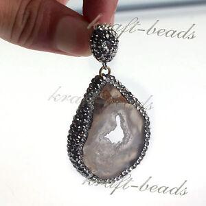Charm-Natural-Druzy-Agate-Geode-Quartz-Reiki-Inlay-Crystal-Stone-Pendant-Jewelry