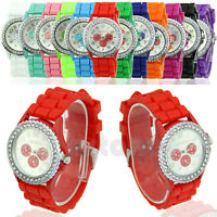 Fashion Geneva Silicone Crystal Stone Quartz Jelly Womens Girls Wrist Watch