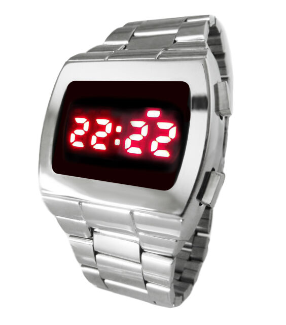 70s STYLE RETRO LED WATCH CHROME SILVER DIGITAL GREAT BIRTHDAY GIFT RED DISPLAY