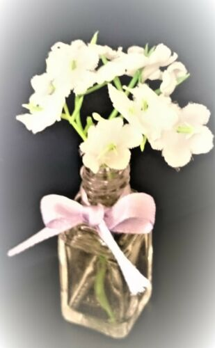 Scented mini ornamental vases white flowers artificial 8cm gifts lilac ribbon