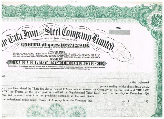 Tata Iron and Steel Co. Ltd., 192x, SPECIMEN, single piece !