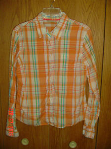 Women-039-s-MAURICES-Madras-Plaid-Shirt-Long-Sleeve-Size-Large-FC564