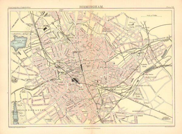 1892 Viktorianisch Stadt Plan Karte ~birmingham~ Edgbaston Great Western Station Ein Unverzichtbares SouveräNes Heilmittel FüR Zuhause