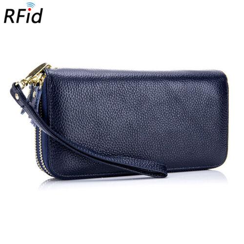 Frid Double Zipper Women Real Leather Clutch Wallet Phone Card Holder Case AN47