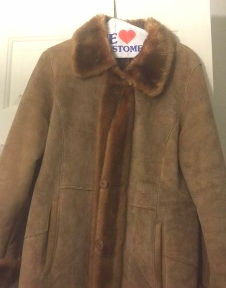 Ambition New York Brown Leather Suede and Faux Fur Woman's Coat