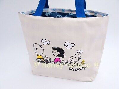 A007 Reversible Tote Bag Peanuts Snoopy Simple White-Black Charlie Brown