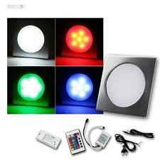 8er Komplett-Set RGB LED Einbauleuchten EBL Slim eckig Aluminium Einbaustrahler