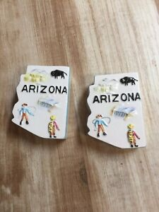 Vintage State of Arizona Salt and Pepper Shakers Map Ceramic Souvenir Made Japan