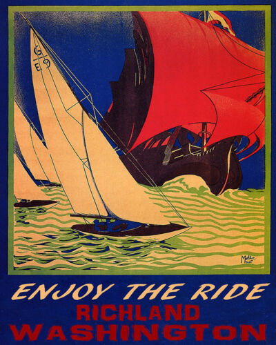 POSTER SAILING TO FREEDOM PORTLAND MAINE BOAT SAILBOAT VINTAGE REPRO FREE S//H