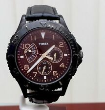 Timex Mens Watch Analogue Calendar Black Leather Strap (833)