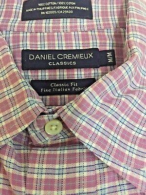 CREMIEUX Classics SLIM FIT Short Sleeve Button Front Plaid Cotton Casual Shirt