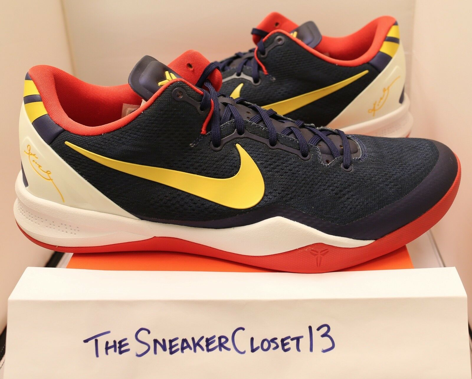 Nike Kobe VIII 8 Promo Sample PE navy blue red yellow Sz 13