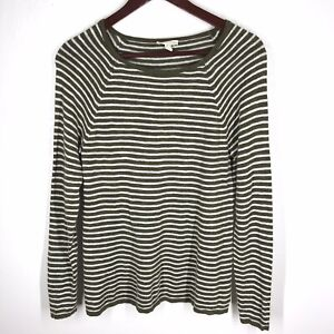 EILEEN-FISHER-Olive-Green-Gray-Striped-Long-Sleeve-Organic-Linen-amp-Cotton-Top-S