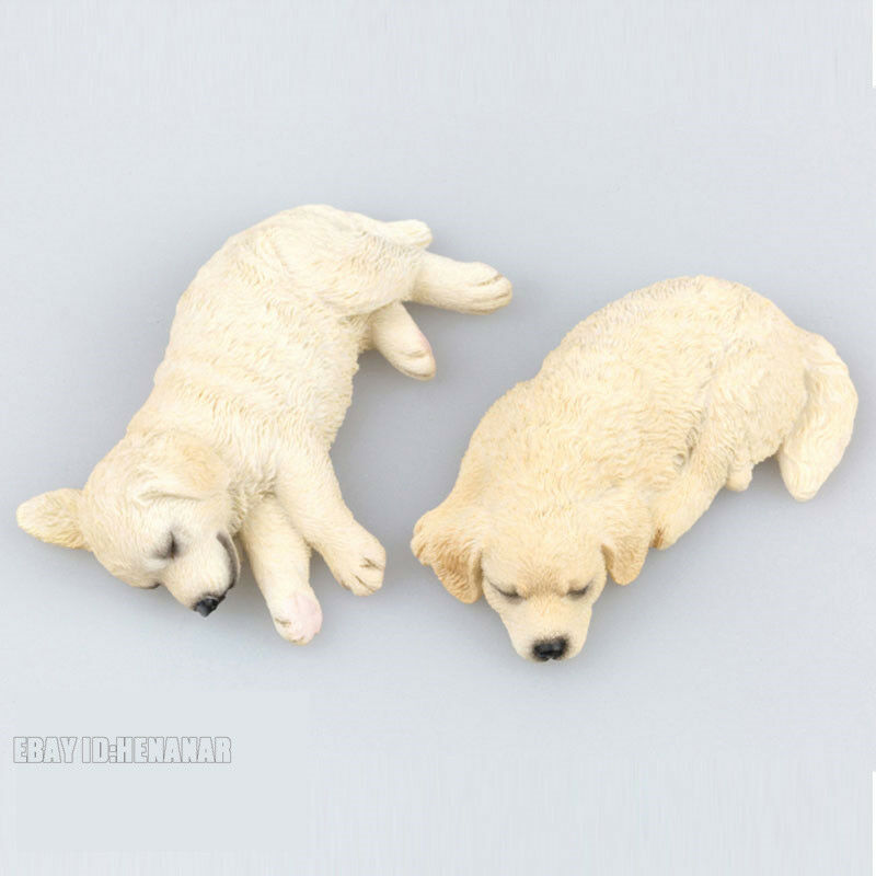 2PC Mini Scale Animal Toys golden Retriever Dogs Resin Figure 2 color Model Car