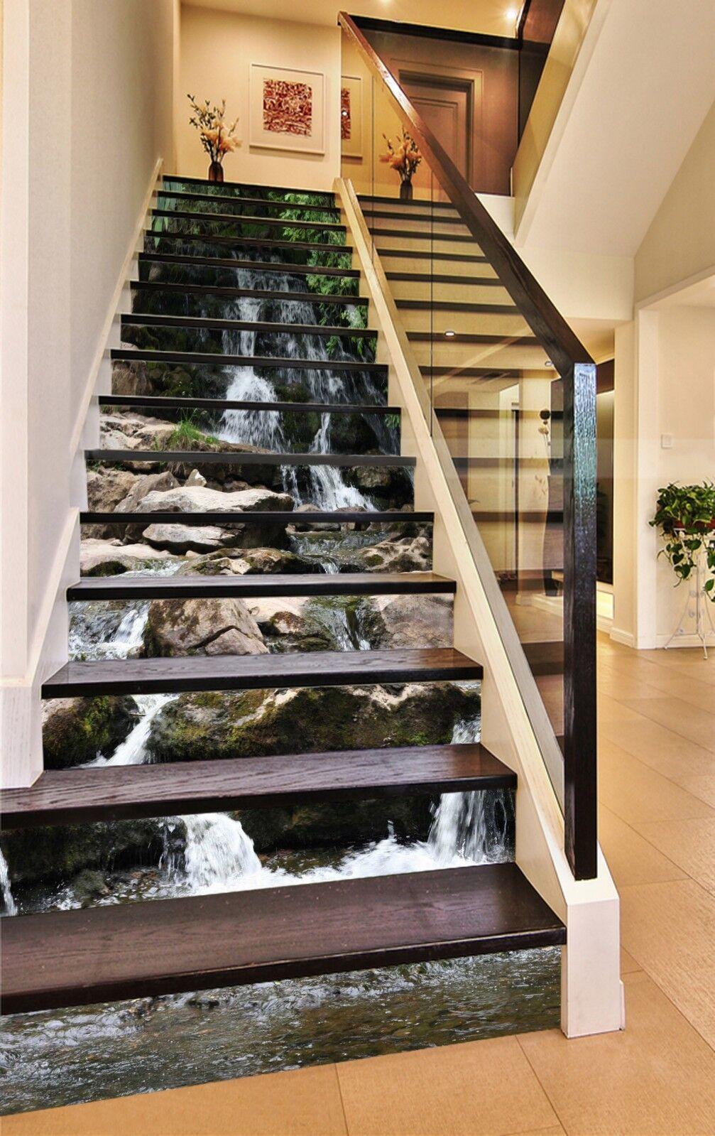 3D Stone Stream 9 Stair Risers Decoration Photo Mural Vinyl Decal Wallpaper CA