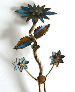 Long-Qing-Dynasty-Kingfisher-feather-Hair-Pin-Antique-Chinese-19th-Tian-tsui