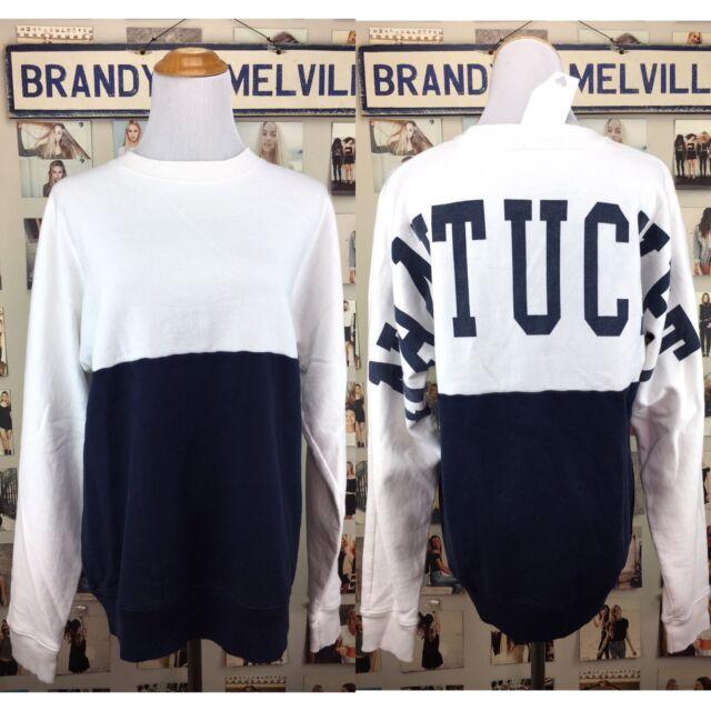 Brandy Melville SOFT Blue White NANTUCKET Oversized crewneck Erica sweatshirt