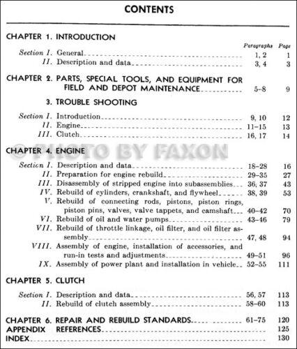 1950-1969 Dodge M37 Engine and Clutch Rebuild Shop Manual TM91840A Service Book