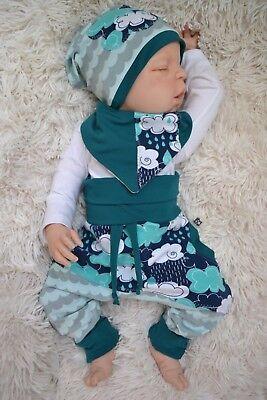 Set Pumphose Baby Beanie-Mütze Halstuch Gr.: 50//56 bis 86 Geschenk Junge