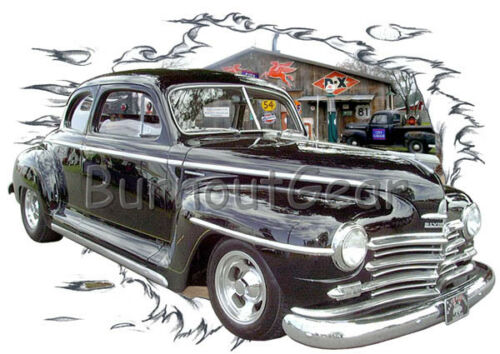 1947 Black Plymouth Coupe Custom Hot Rod Garage T-Shirt 47 Muscle Car Tee