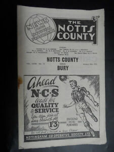 1952-3-Football-programme-Notts-County-v-Bury-24th-January-SP436