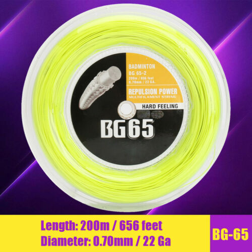 200 Metres Coil 656 feet YELLOW Badminton String BG65-2 BG-65 Dia.0.7mm 22 Ga