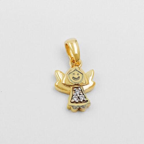 Baby Kinder moderner Schutz Engel mit Steine und Kette Echt Silber 925 vergoldet