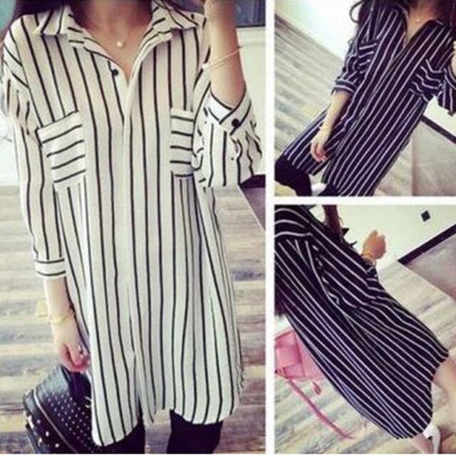 UK 8-26 Casual Women Turndown Collar Loose Striped Long Tops Blouse Shirt Dress