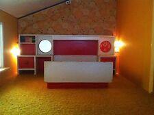 Bett mit Überbau Uhr Lundby 70er Holz Puppenhaus Puppenstube