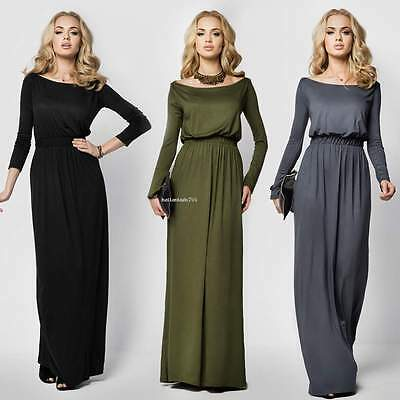 Women Ladies Plain long sleeve Evening Party Cocktail Prom Gown Long Maxi Dress