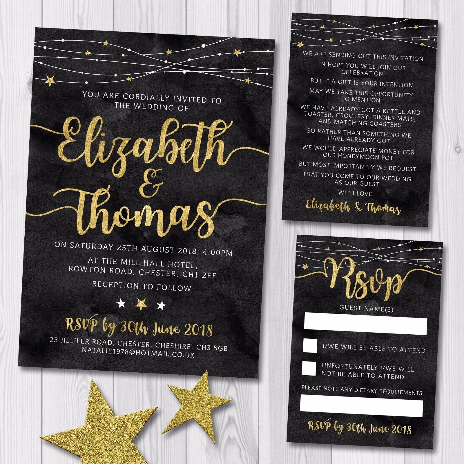 Details About Evening Wedding Invitation Set Rsvp Card Gift Poem Black Gold Winter Stars