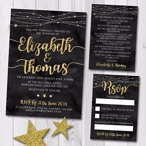 Day Or Evening Wedding Invitation Rsvp Card Gift Poem Black Gold