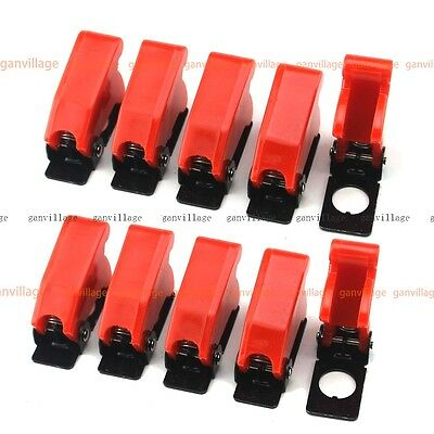 7pcs Red Plastic Safe Toggle Switch Flip Safety Cover Cap Guard Military Style