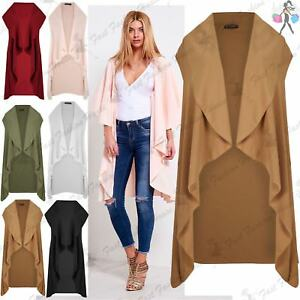 Ladies Womens Waterfall Open Front Sleeve Top Cape Cardigan Coat ...