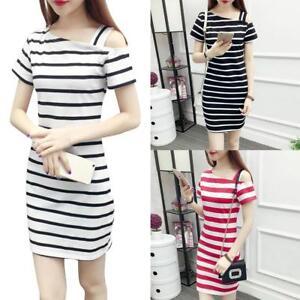 Women-Girl-Boat-Neck-Oblique-Shoulder-Cotton-Striped-Short-sleeved-Casual-Dress