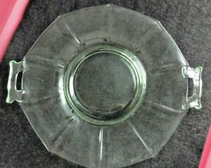 Vintage-Green-Uranium-Depression-Glass-Octagon-10-5-034-Platter-w-Applied-Handles