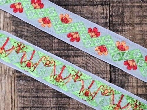 Laverslace Color Rojo Brillante Verde Naranja Tejido Jacquard trenza cinta ribete costura 25 mm