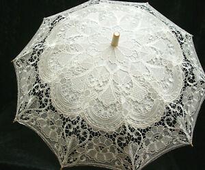 Parasol-Off-White-lace-Vintage-Victorian-Edwardian-vintage-style-wood-handle