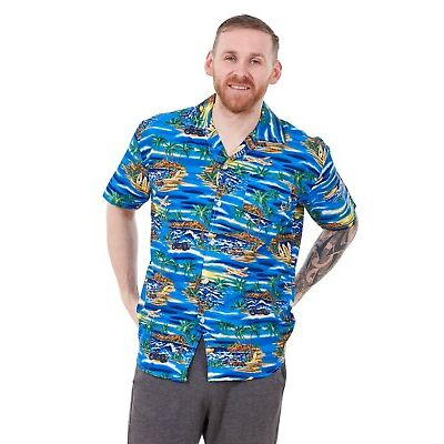 Men's Hawaiian T-Shirts Multi Colours Printed Loose Fit Summer Beach Fancy Dress