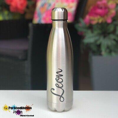 Personalised 500ml Silver Glitter Water Bottle
