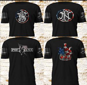 Smith-Wesson-FN-POF-Mauser-USA-Drapeau-Army-manches-T-shirt-S-4XL