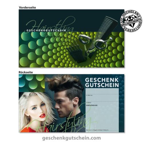 Gutscheine und Kuverts Friseur Damen Herren Coiffeure Haarstudios K1296