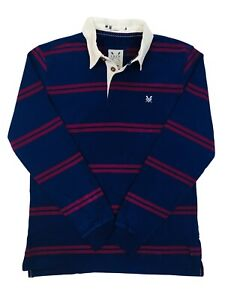 Ex-Crew-Mens-Long-Sleeve-Striped-Cotton-Rugby-Shirt-Navy-Blue-Burgundy-Size-XS