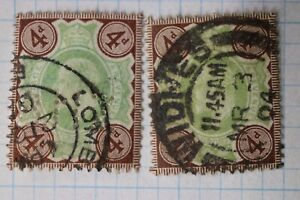 GB-sc-133-used-postage-stamp-sg-236-perfin-cv-70-00-color-shade-variety-green