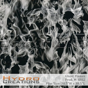 HYDROGRAPHIC FILM FOR HYDRO DIPPING WATER TRANSFER FILM WHITE FLAMES - SMOKE V2