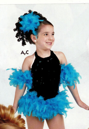 Feathered Skirt andSleeves Headpiece Turquoise blue Girls size small age 3-5