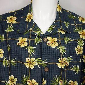 Toucan-Dance-by-Fast-Lane-Mens-Large-Aloha-Hawaiian-Tropical-Shirt-Hibiscus-C10